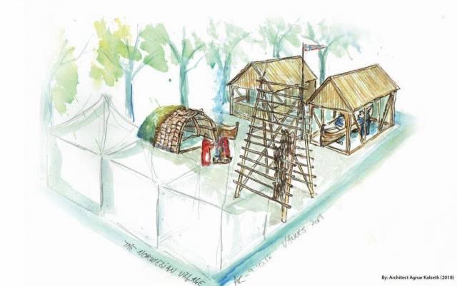 Slik planlegger Gratangen kystlag utformingen av den norske landsbyen når de skal representere Norge i Bretagne i mai. Illustrasjon: Agnar Kalseth