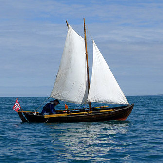 Lillebåden fra Søgne under seil